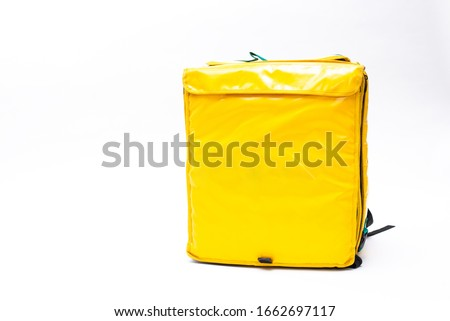 Thermal bag isolated on white background. For food transportation.