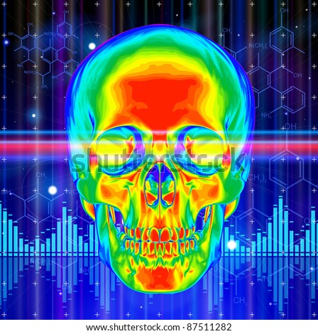 Thermal image of the human skull, blue technology background, lights, chemical formulas & digital wave. Bitmap copy my vector id 73544257