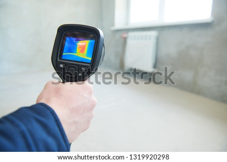 thermal imaging camera inspection for temperature check and finding heating pipes