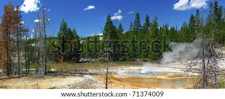 Thermal lake in Yellowstone national park