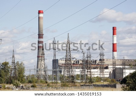 Thermal power plant with power lines.
