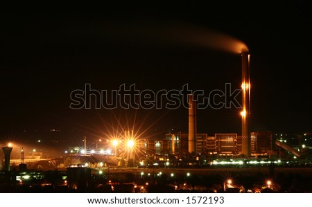 Thermal power station at night