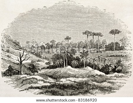 Thermal source site in Zanzibar, old illustration. Created by Burton, published on Le Tour du Monde, Paris, 1860