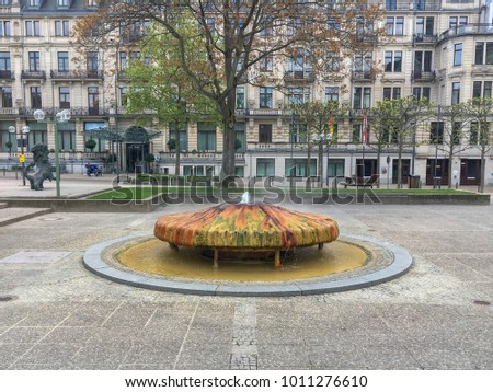 Thermal spring called Kochbrunnen in the German city of Wiesbaden with warm water