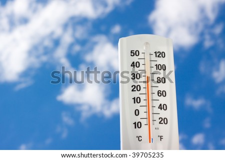Thermometer against bluesky