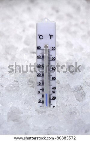 Thermometer at zero degrees