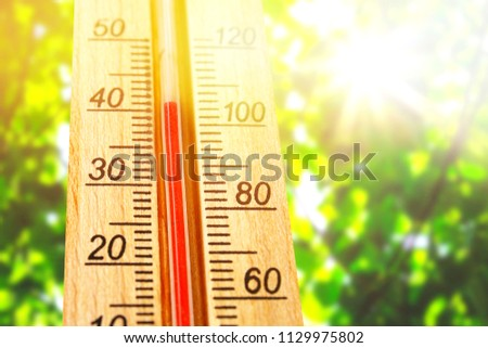 Thermometer displaying high 40 degree hot temperatures in sun summer day. temperature 40. Summer temperature.