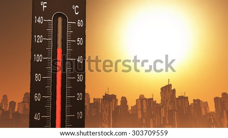 Thermometer Fahrenheit Celsius Heat Illustration\Concept of climate change, global warming, summer heat.