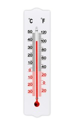 Thermometer for measuring air temperature isolated on white background. The thermometer shows plus 40 degrees celsius