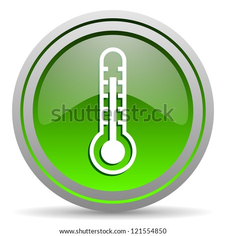 thermometer green glossy icon on white background