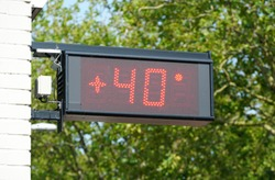 Thermometer in the Netherlands showing 40 degrees celcius, a new temperature record for the Netherlands in the summer of july 2019.