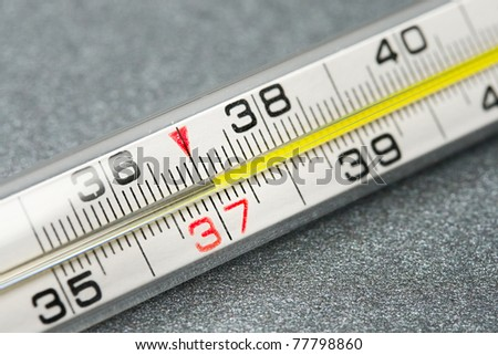 Thermometer isolated on the grey background