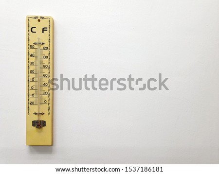 Thermometer on a white background : a device that measures temperature or a temperature gradient. #1537186181