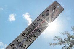 Thermometer shows heat in the summer season against a blue sky with sunbeams and lens flares, weather phenomenon due to climate warming with consequences like drought, forest fires and health hazards