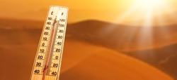 Thermometer  shows higt temperatures in celsius or farenheit.