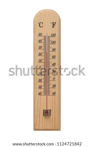 Thermometer, Thermometer on wooden base with celsius scale. Icon for your design. Temperature 0 degree celsius.