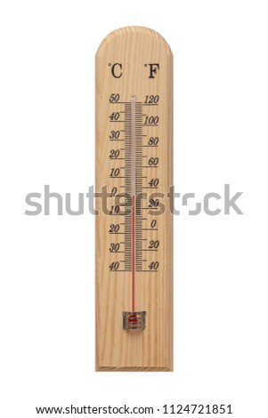 Thermometer, Thermometer on wooden base with celsius scale. Icon for your design. Temperature 25 degree celsius.