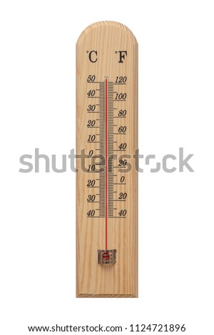 Thermometer, Thermometer on wooden base with celsius scale. Icon for your design. Temperature over 50 degree celsius.