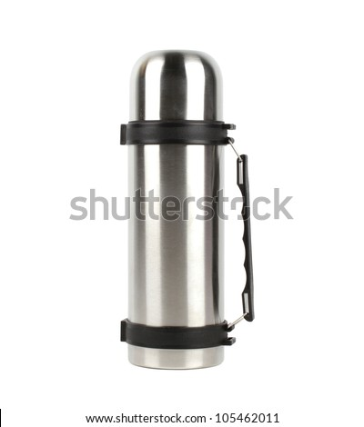 Thermos flask on white