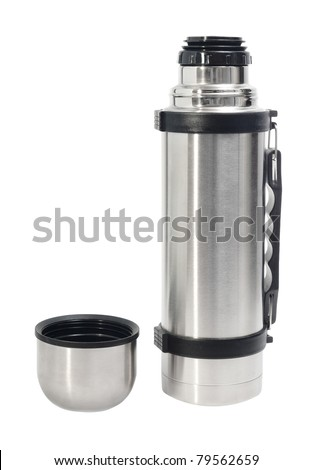 thermos flask with handle and cup isolated on white