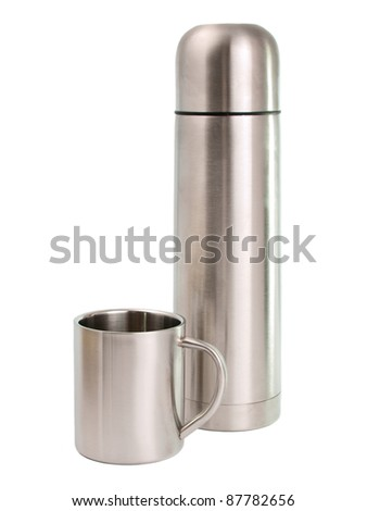 Thermos with cups on white background