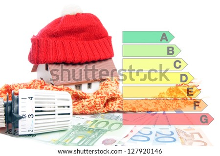 Thermostat with euro banknotes and hat / energy Efficiency