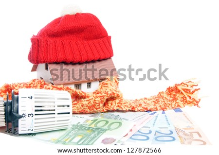 Thermostat with euro banknotes and small house / heating costs
