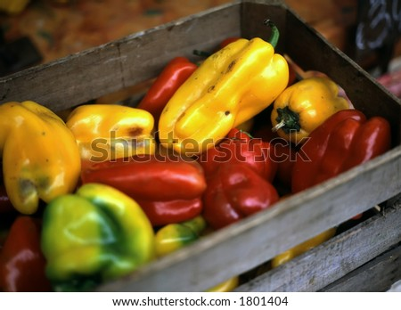 These colorful peppers in a crate are on display in Rome's Campo Dei'Fiori marketplace.
