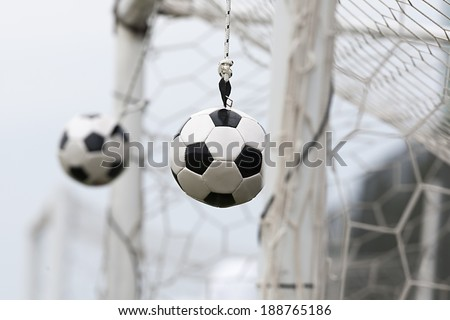 THESSALONIKI, GREECE APRIL 16, 2014 : Training hanging balls during the training before the Greek Cup Semi Final match PAOK vs Olympiacos