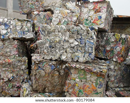 THESSALONIKI, GREECE - JANUARY 21: Crushed aluminum cans lie in a heap at an undisclosed recycling facility, The cans will be shipped to an aluminum foundry in Thessaloniki on January 21, 2011