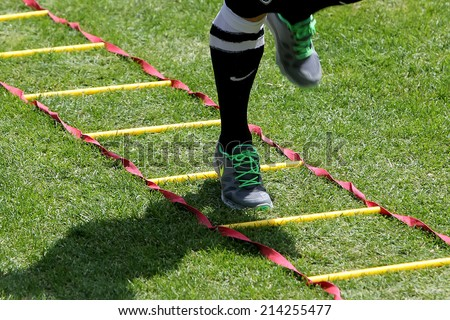 THESSALONIKI, GREECE -?? JULY 5, 2014: Close up to feet during training exercise of team Paok in Thessaloniki, Greece.