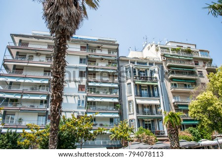 Thessaloniki, Greece - June 06, 2017: Square next to the White T #794078113