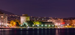 Thessaloniki, Greece - May 3, 2015: The white tower at night