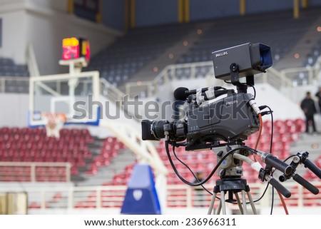 THESSALONIKI, GREECE - NOV 12, 2014: Tv media camera prior to the Eurocup game Paok vs Buducnost