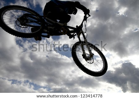 THESSALONIKI,GREECE - OCT 16: Unidentified bikers take part in Yedi Kule Runaway competition in Thessaloniki during Urban Downhill on October 16, 2011 in Thessaloniki, Greece.