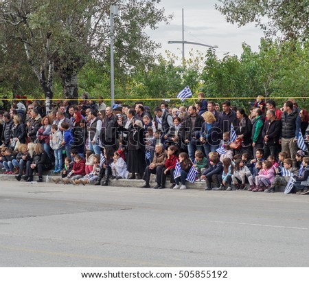 Oxi Day Greek Army parade crowd.