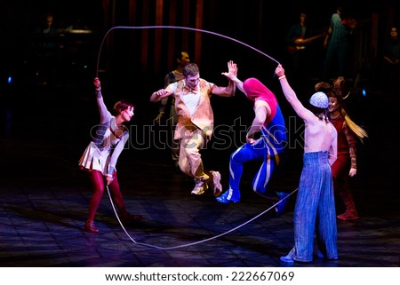 THESSALONIKI, GREECE - OCTOBER, 1, 2014: Performers skipping Rope at Cirque du Soleil\'s show \'Quidam\'