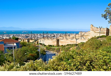 THESSALONIKI, GREECE - OCTOBER 17, 2013: The city wall surrounded it during the Middle Ages, nowadays it\'s the famous landmark and perfect way to discover the city, on October 17 in Thessaloniki.