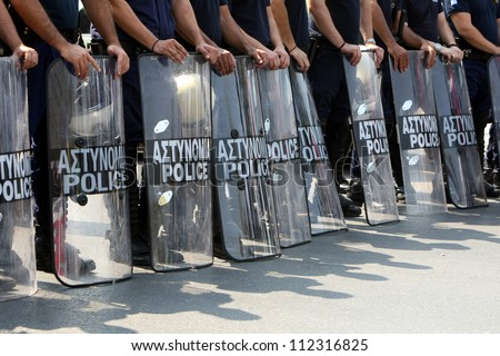 THESSALONIKI,GREECE - SEPT,08: Policemen, firefighters and port policeman protest in Thessaloniki against further cuts on their payroll on Sept 08, 2012 in Thessaloniki, Greece.