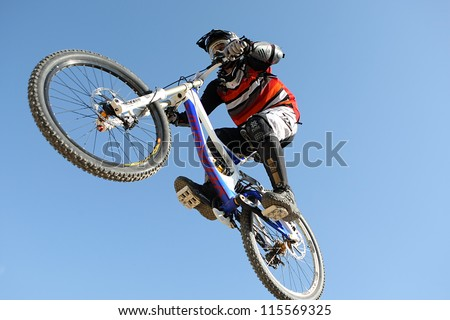 THESSALONIKI,GREECE - SEPT,30: Unidentified  bikers take part in Yedi Kule Runaway competition in Thessaloniki during Urban Downhill on September 30, 2012 in Thessaloniki, Greece.
