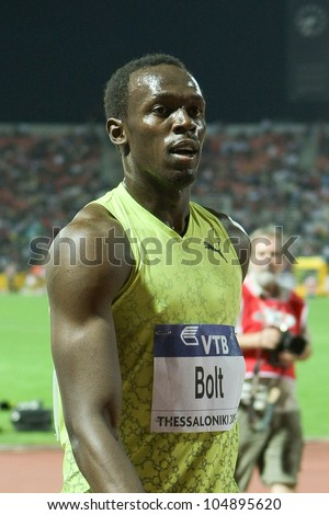 THESSALONIKI, GREECE - SEPTEMBER 12:IAAF/VTB Bank World Athletics Final  Usain Bolt  after the final Mens 100m celebrates his victory on September 12,2009 in Kaftatzoglio stadium, Thessaloniki, Greece
