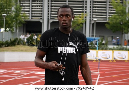 THESSALONIKI, GREECE -SEPTEMBER 11:Jamaican U.Bolt relaxing in the training center for the IAAF World Athletics Finals main event in Kaftatzoglio Stadium on September 11, 2009 in Thessaloniki,Greece