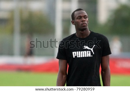 THESSALONIKI, GREECE -SEPTEMBER 11:Jamaican U. Bolt relaxing in the training center for the IAAF World Athletics Finals main event in Kaftatzoglio Stadium on September 11, 2009 in Thessaloniki,Greece - stock photo