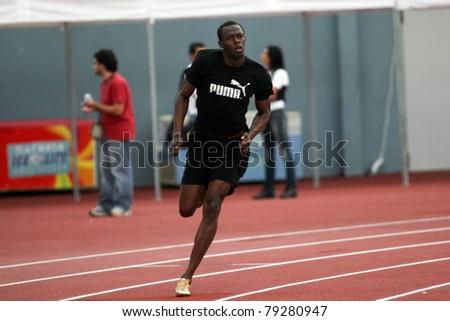 THESSALONIKI, GREECE -SEPTEMBER 11:Jamaican U. Bolt warming up in the training center for the IAAF World Athletics Finals main event in Kaftatzoglio Stadium on September 11,2009 in Thessaloniki,Greece
