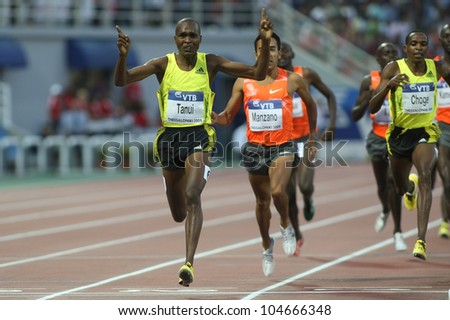 THESSALONIKI, GREECE - SEPTEMBER 12: Tanui Paul Kipngetich from Kenya celebrates his victory on September 12, 2009 in Kaftatzoglio stadium, Thessaloniki, Greece