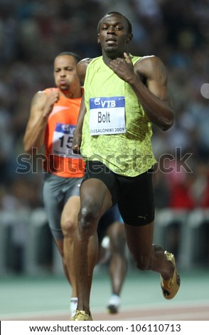 THESSALONIKI, GREECE - SEPTEMBER 12: Usain Bolt finishes first at 100m men for the IAAF World Athletics Finals main event at Kaftatzoglio Stadium on September 11, 2009 in Thessaloniki, Greece