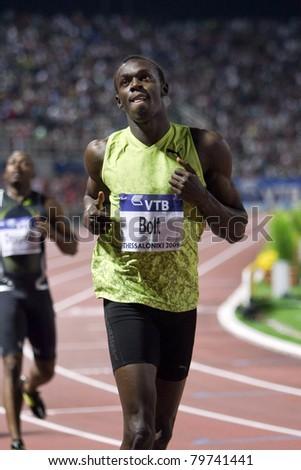THESSALONIKI, GREECE -SEPTEMBER 12: Usain Bolt finishes first at 100m men for the IAAF World Athletics Finals main event in Kaftatzoglio Stadium on September 11, 2009 in Thessaloniki, Greece