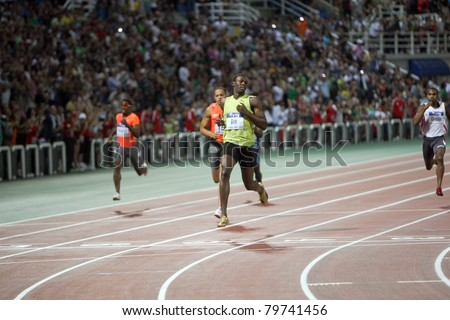 THESSALONIKI, GREECE -SEPTEMBER 12: Usain Bolt finishes first at 100m men for the IAAF World Athletics Finals main event in Kaftatzoglio Stadium on September 11, 2009 in Thessaloniki, Greece