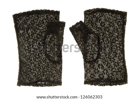 They are a pair of black lace gloves.