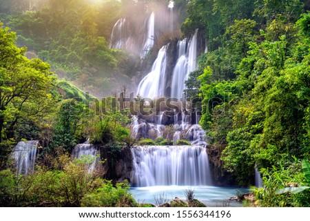 Thi Lo Su (Tee Lor Su) in Tak province. Thi Lo Su waterfall the largest waterfall in Thailand. Stok fotoğraf ©